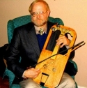 Dr. J. Marshall Bevil with crwth