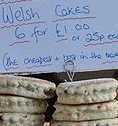 photographs of Welsh cakes in bakery window